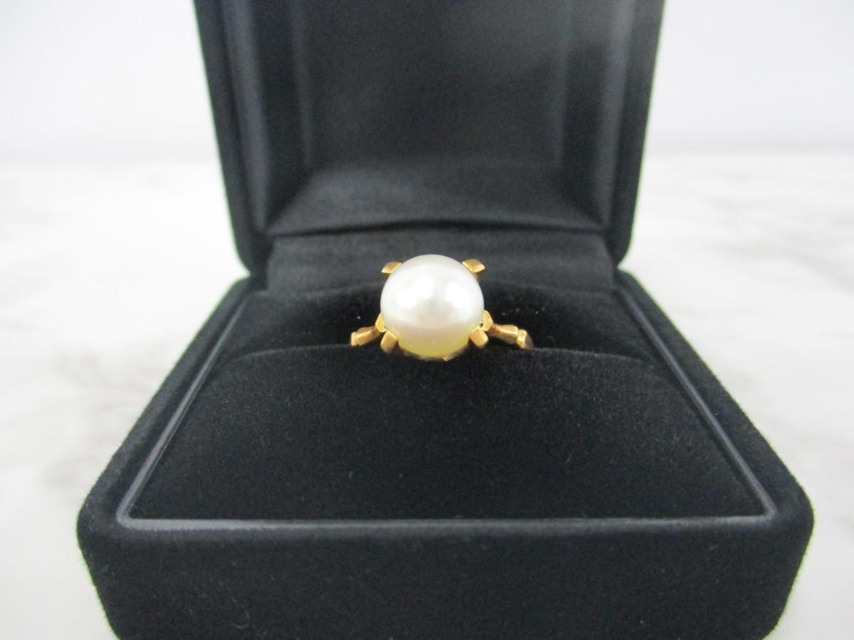 A7現品限り★K18 シンプルな パール 真珠 リング 指輪 18金 8mm 9.5号 3.2g_画像3