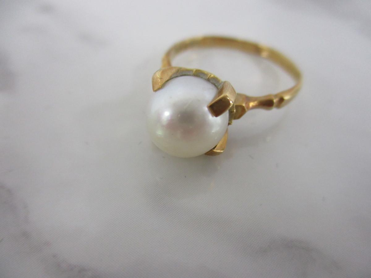 A7現品限り★K18 シンプルな パール 真珠 リング 指輪 18金 8mm 9.5号 3.2g_画像6