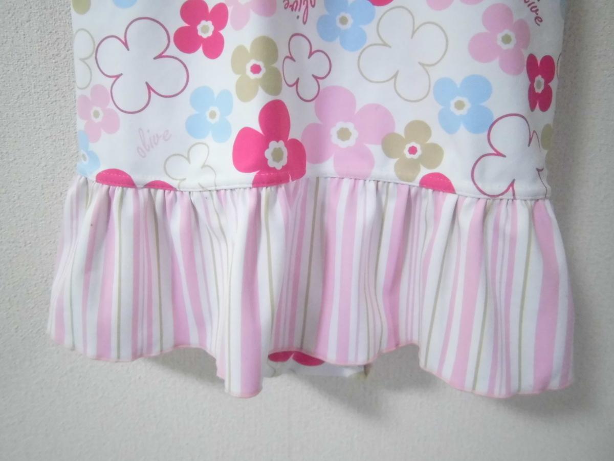 OLIVE des OLIVE オリーブ デ オリーブ キッズ 子ども 女の子用 水着 ワンピース 花柄 ストライプ ピンク系 サイズ120 美品_画像4