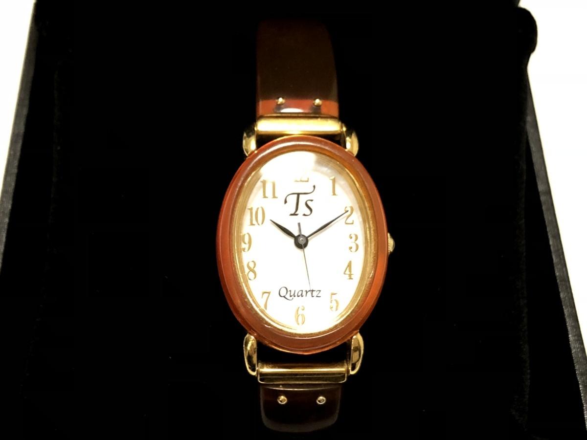三越 沖縄展 ㈱池田商店 本鼈甲 赤甲 クォーツ レディース 腕時計 ケース付属