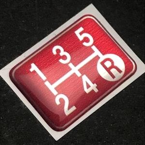 Tuningfan シフトパターン エンブレム レッド 5速MT車用 赤 SPE-R501 プレート 日本製 JZX100 CT9A L880K ZC31S JB23W BCNR33 NA2 PP1 S14_画像7