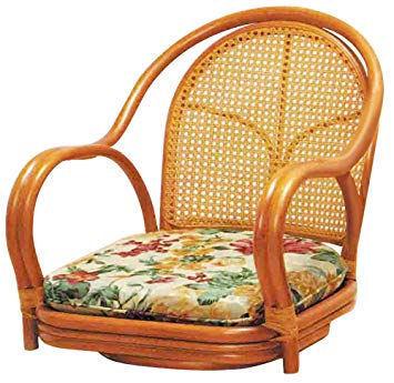 座面高16cm 籐家具 座椅子 ラタン座椅子 肘掛 肘付き 回転座椅子 座面椅子 イス いす チェアー 常夏ラタン お部屋を飾る 籐 回転椅子_画像1