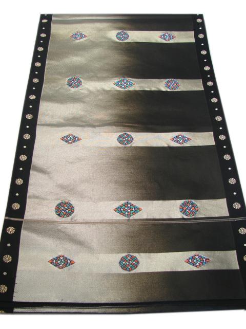 時代屋 美品 訪問着 小紋用 黒色 西陣織 箔織 袋帯 正絹 仕立上り F485_画像1