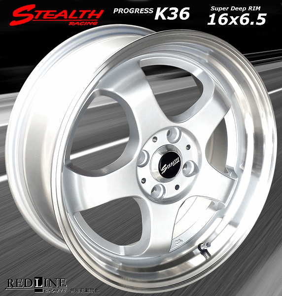 ■ STEALTH Racing K36 ■ 改造軽四用16in 前後幅広6.5J 人気のスーパーディープリム!! Hankook 165/40R16 タイヤ付4本セット_画像1