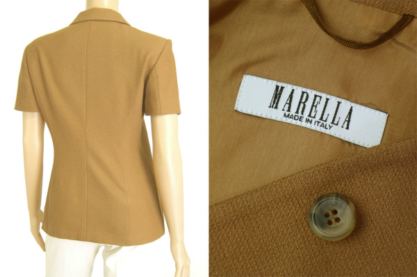 A美品/マレーラ MARELLA 美形ジャケット イタリア製 表記JI40号(11号/L相当) 茶/ブラウン 比翼仕立て 春夏向け アウター レディース_画像3
