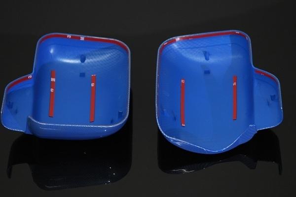 【送料800円】MADMAX トラック用品 ダイハツ ハイゼット S500系 カーボン柄 ミラーカバー 左右SET ブルー/ピクシス サンバー S500P S510P_画像3