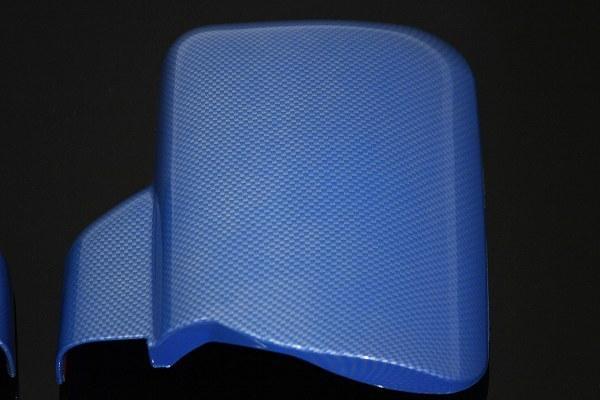 【送料800円】MADMAX トラック用品 ダイハツ ハイゼット S500系 カーボン柄 ミラーカバー 左右SET ブルー/ピクシス サンバー S500P S510P_画像2