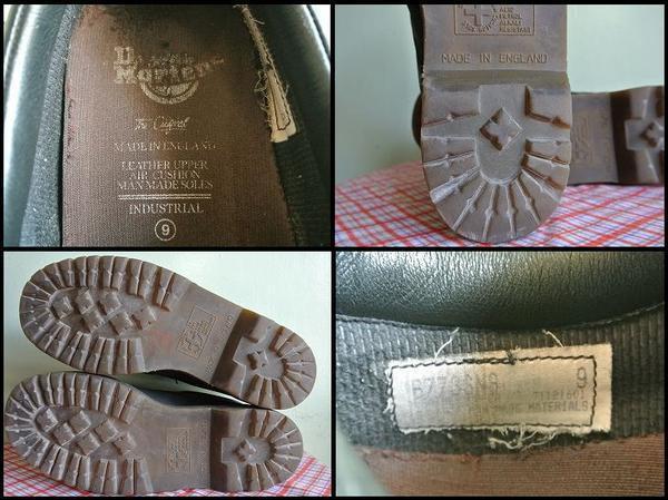 【UK9/28cm】 90's イングランド製 ドクターマーチン レザーシューズ レザーブーツ Dr.Martens メンズ 黒色 中古 アメリカ古着_画像3