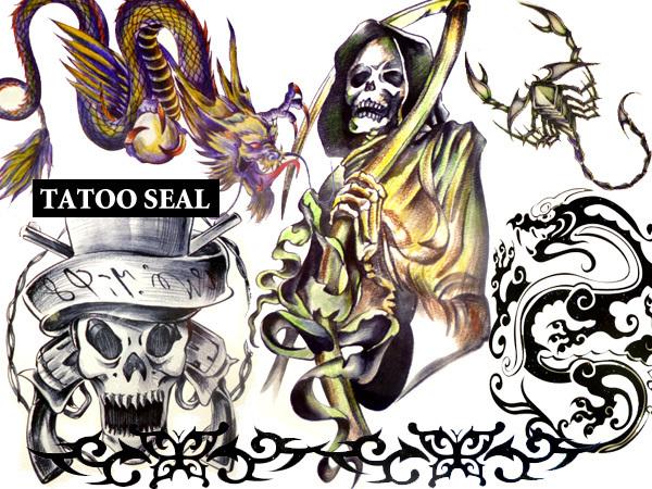メール便送料無料 タトゥーシール(Hセット) 7枚 28アイテム ドクロ・海賊・ドラゴン・サソリ/22ψ_画像2