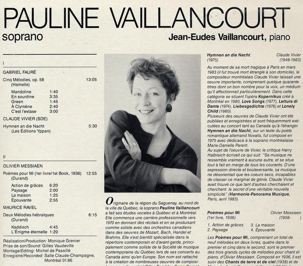 輸入盤ポーリーン・ヴァイランコート Faure 5つの歌曲&Ravel ヘブリディス諸島の歌_画像2