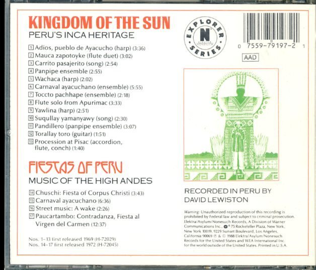 CD☆David Lewiston / Kingdom Of The Sun: Peru's Inca Heritage / Fiestas Of Peru: Music Of The High Andes / 9 79197-2_画像2