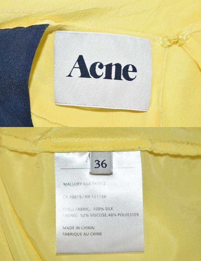 ACNE/アクネ バイカラーシルクワンピース MALLORY SILK サイズ:36 カラー:ネイビー/イエロー 19n04_画像3