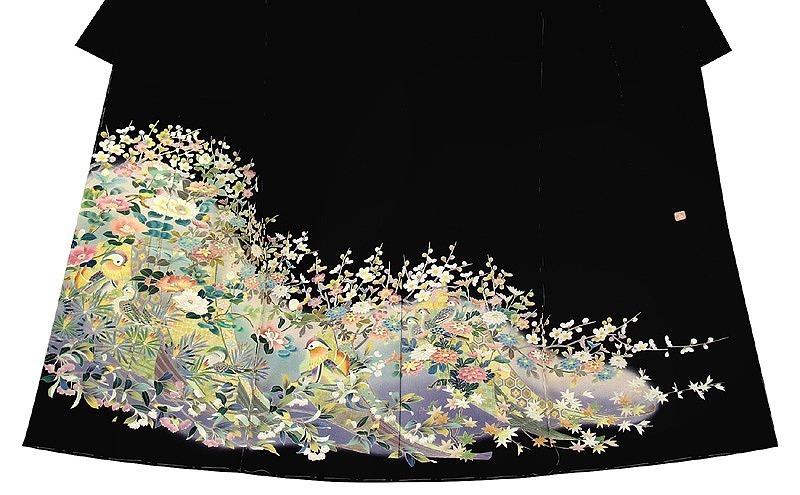 ※お仕立付!特撰手描き工芸☆京友禅伝統加賀五彩染☆花鳥風月文黒留袖【即決価格】_画像3