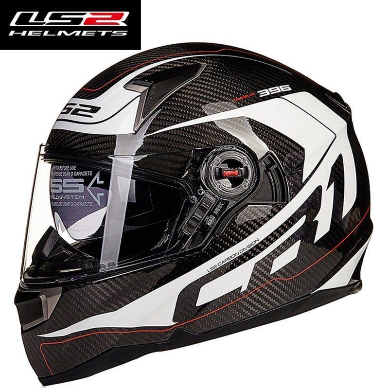 お得! Genunie LS2 ff396 carbon fiber full face motorcycle helmet dual visor airbags pump 100%_画像3