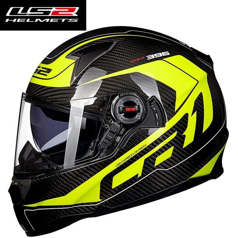 お得! Genunie LS2 ff396 carbon fiber full face motorcycle helmet dual visor airbags pump 100%_画像5