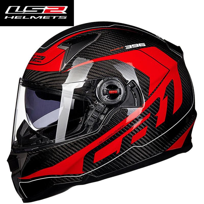 お得! Genunie LS2 ff396 carbon fiber full face motorcycle helmet dual visor airbags pump 100%_画像4