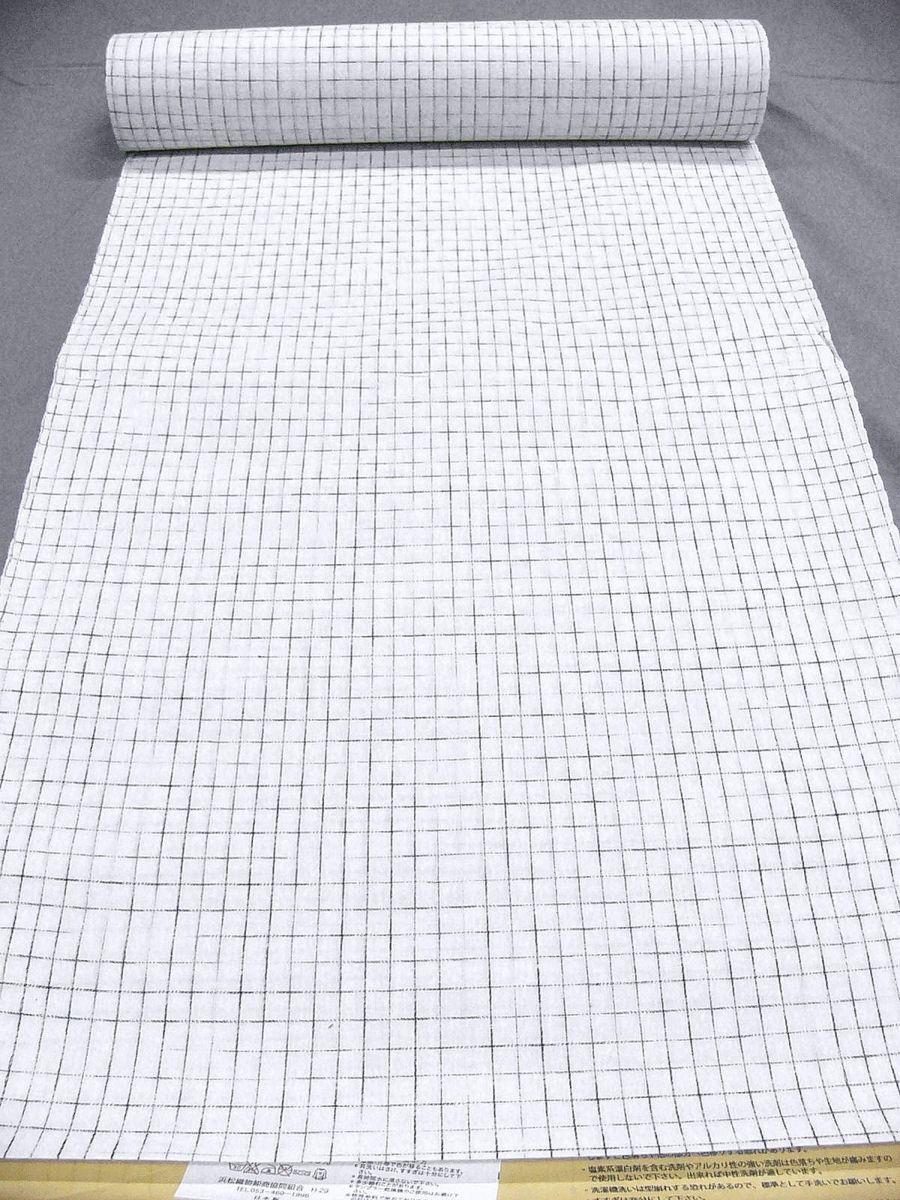 わけあり品 日本製 綿・麻 織りのキングサイズ浴衣反物「綿麻上布」白色・やぶれ格子 新品_画像2