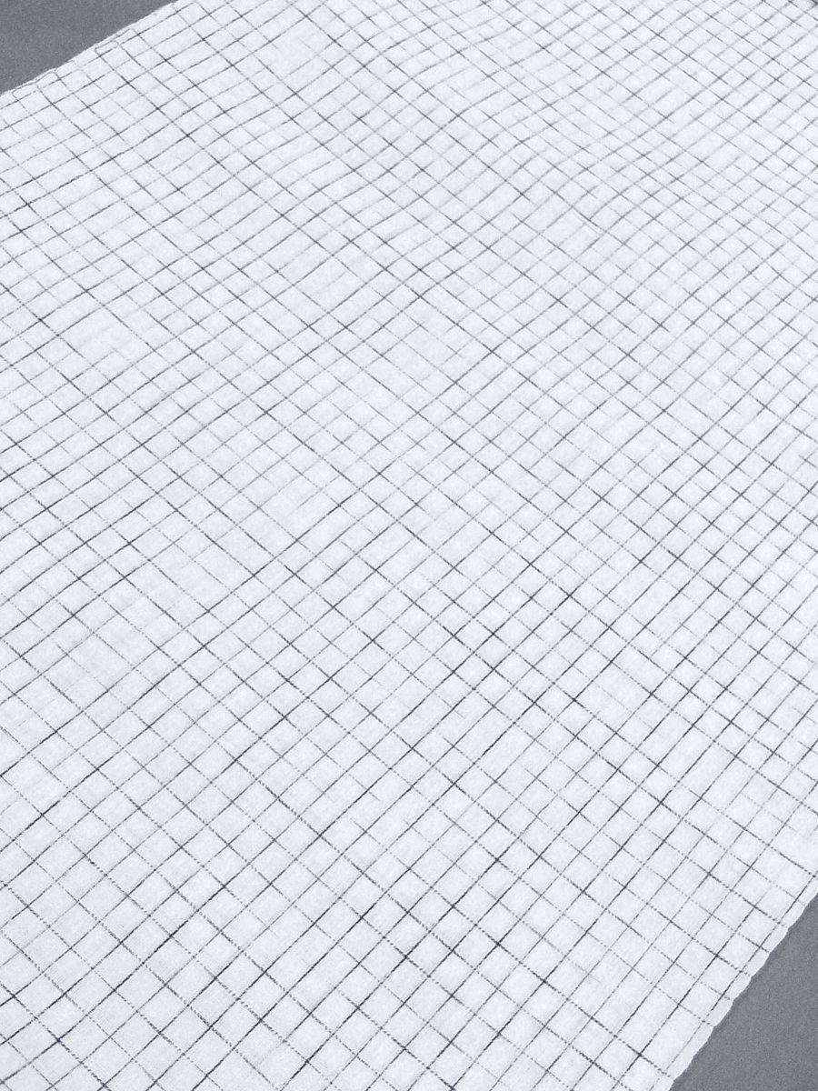 わけあり品 日本製 綿・麻 織りのキングサイズ浴衣反物「綿麻上布」白色・やぶれ格子 新品_画像3