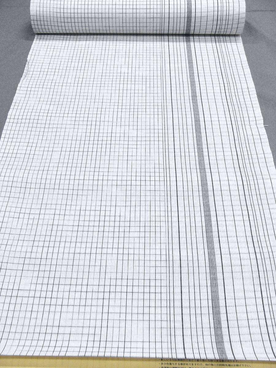 わけあり品 日本製 綿・麻 織りのキングサイズ浴衣反物「綿麻上布」白色・変り格子 新品_画像2