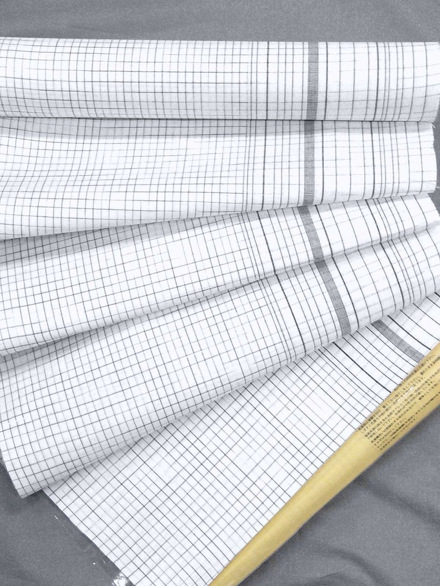 わけあり品 日本製 綿・麻 織りのキングサイズ浴衣反物「綿麻上布」白色・変り格子 新品_画像4