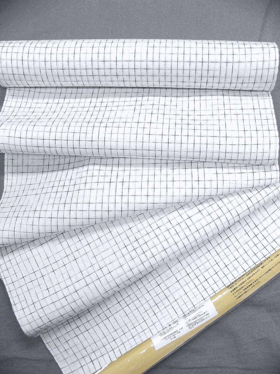 わけあり品 日本製 綿・麻 織りのキングサイズ浴衣反物「綿麻上布」白色・やぶれ格子 新品_画像4