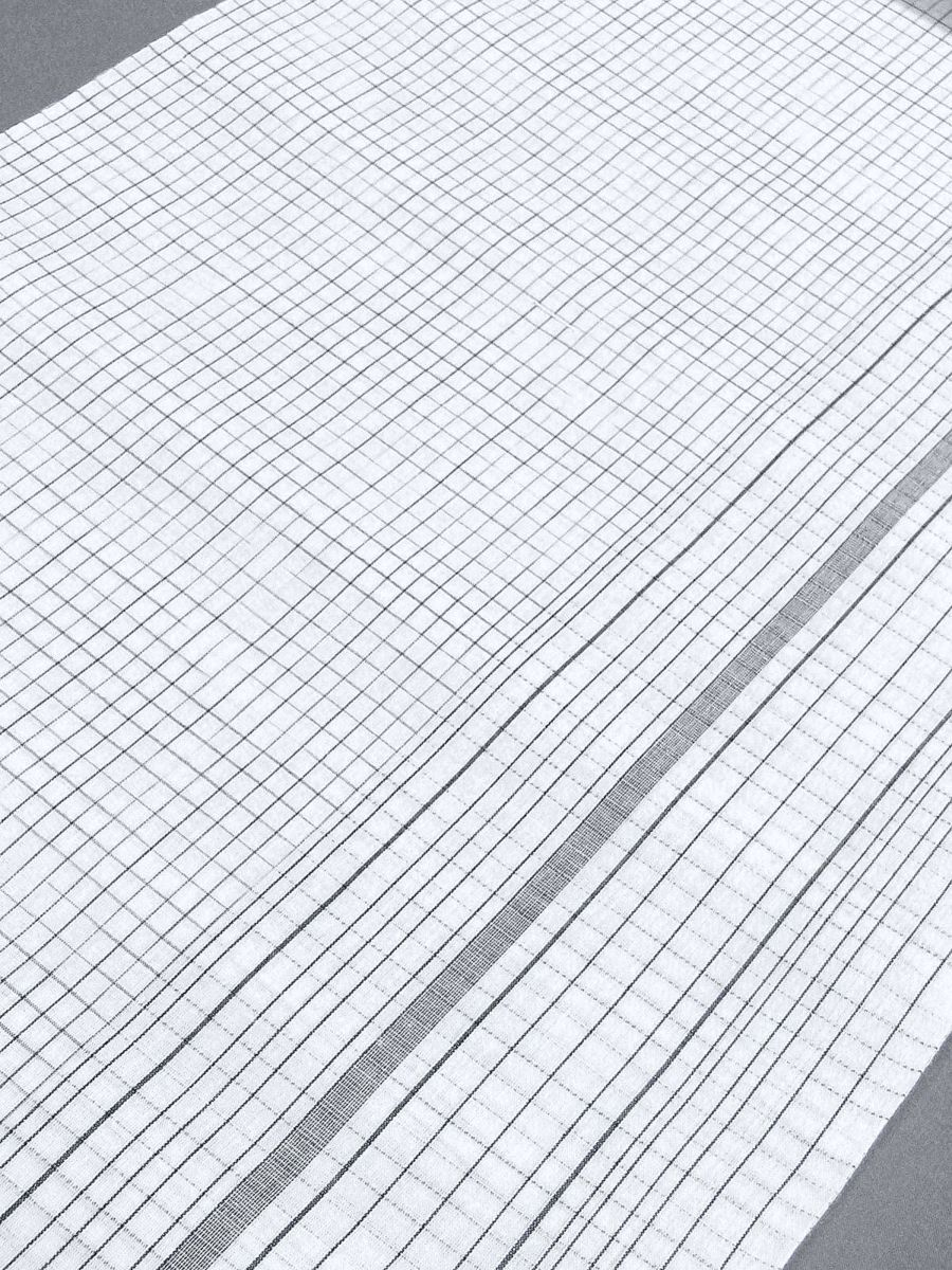 わけあり品 日本製 綿・麻 織りのキングサイズ浴衣反物「綿麻上布」白色・変り格子 新品_画像3