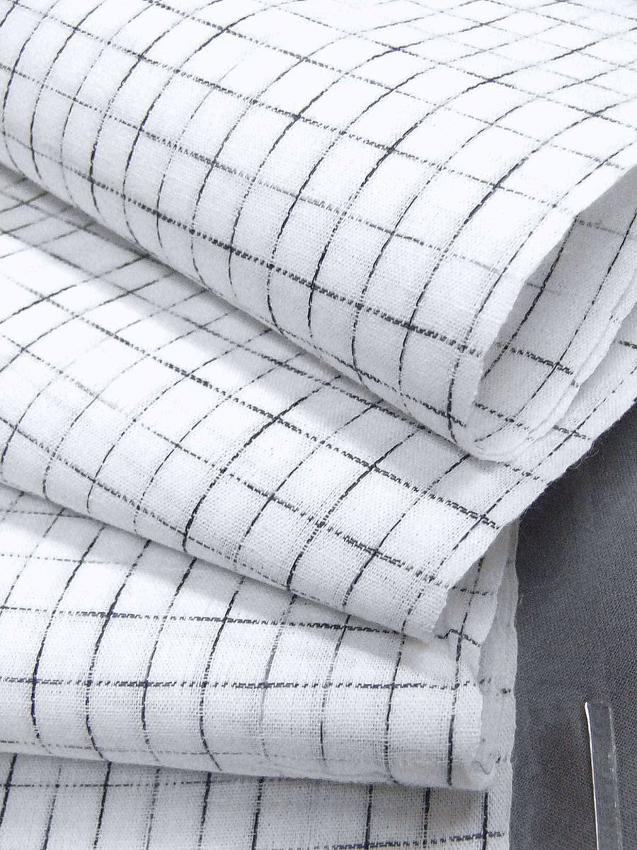 わけあり品 日本製 綿・麻 織りのキングサイズ浴衣反物「綿麻上布」白色・やぶれ格子 新品_画像5