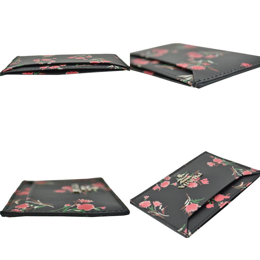 10f30a445686 美品 プラダ PRADA カードケース パスケース フラワー ブーケ ブラックxマルチカラー サフィアーノレザー