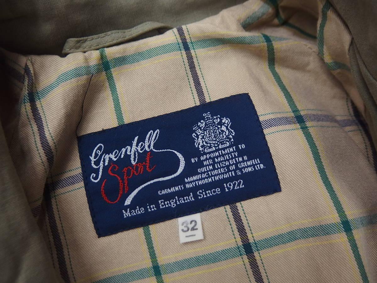 ☆高級 クリーニング済み 英国製 Grenfell グレンフェル トレンチコート 32 カーキ系 イギリス製 レディース☆_画像4