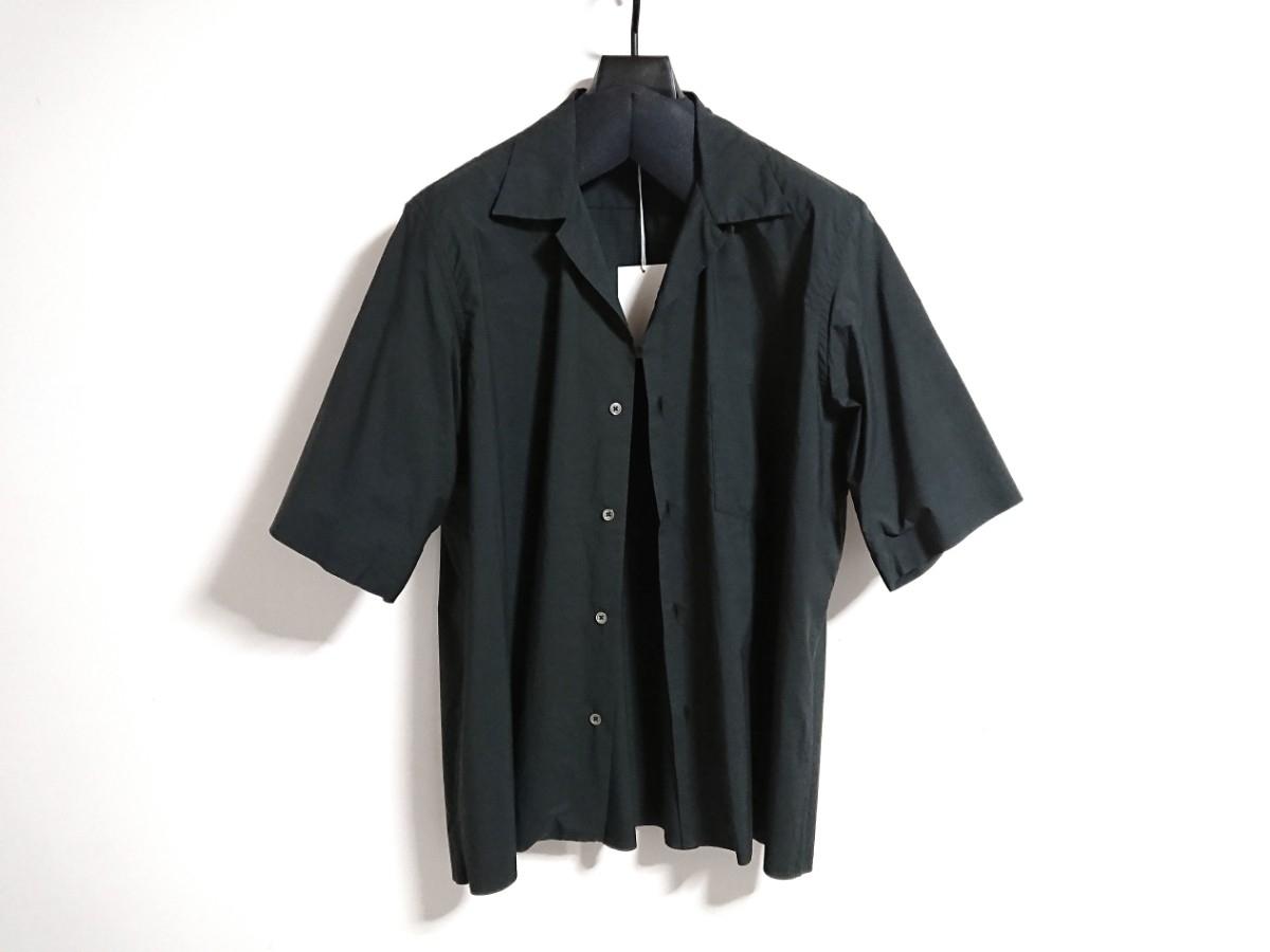 【未使用タグ付】AURALEE オーラリー★SELVEDGE WEATHER CLOTH HALF SLEEVE SHIRT オープンカラーシャツ A7SS02WC INK BLACK サイズ5★17SS_画像2
