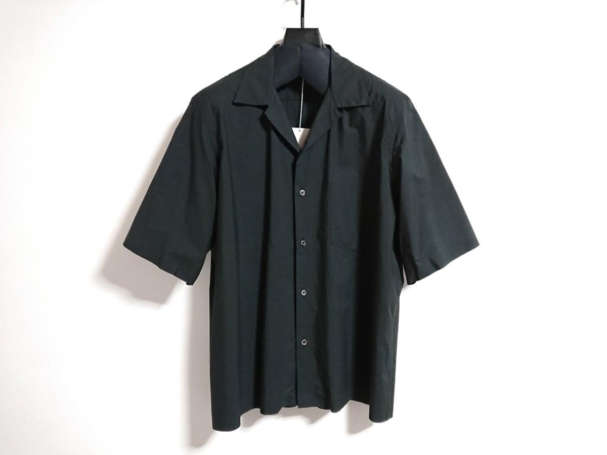 【未使用タグ付】AURALEE オーラリー★SELVEDGE WEATHER CLOTH HALF SLEEVE SHIRT オープンカラーシャツ A7SS02WC INK BLACK サイズ5★17SS