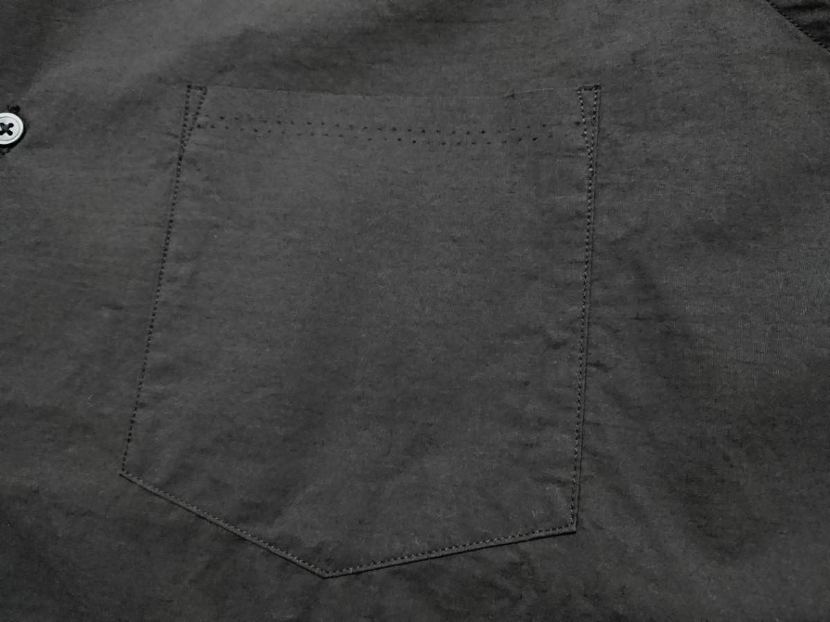 【未使用タグ付】AURALEE オーラリー★SELVEDGE WEATHER CLOTH HALF SLEEVE SHIRT オープンカラーシャツ A7SS02WC INK BLACK サイズ5★17SS_画像6