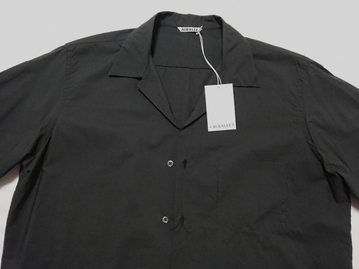 【未使用タグ付】AURALEE オーラリー★SELVEDGE WEATHER CLOTH HALF SLEEVE SHIRT オープンカラーシャツ A7SS02WC INK BLACK サイズ5★17SS_画像4