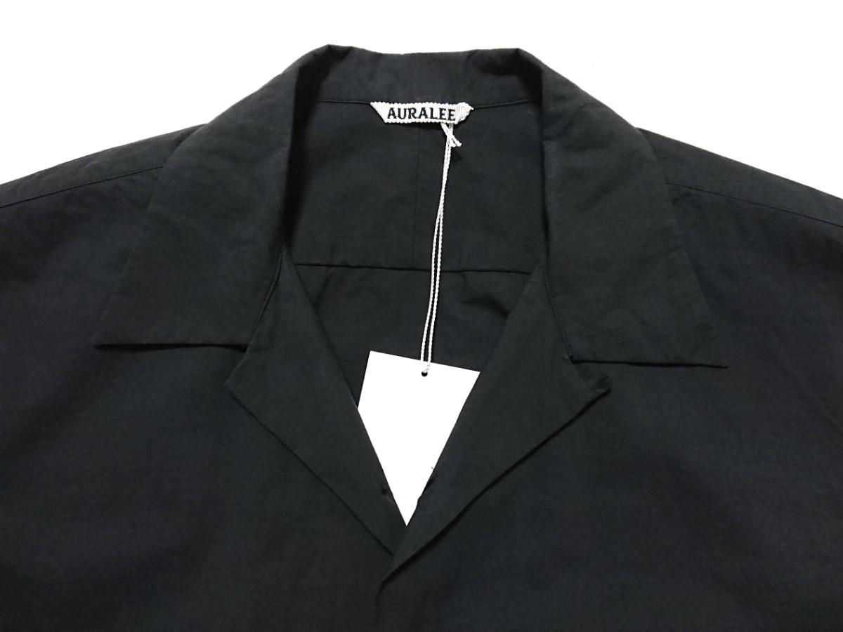 【未使用タグ付】AURALEE オーラリー★SELVEDGE WEATHER CLOTH HALF SLEEVE SHIRT オープンカラーシャツ A7SS02WC INK BLACK サイズ5★17SS_画像5