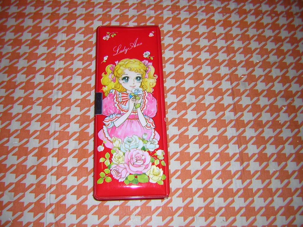 m070/昭和レトロ 可愛い女の子柄 筆箱 Lady Ann 2ドア 少女漫画 キャンディキャンディ風 乙女