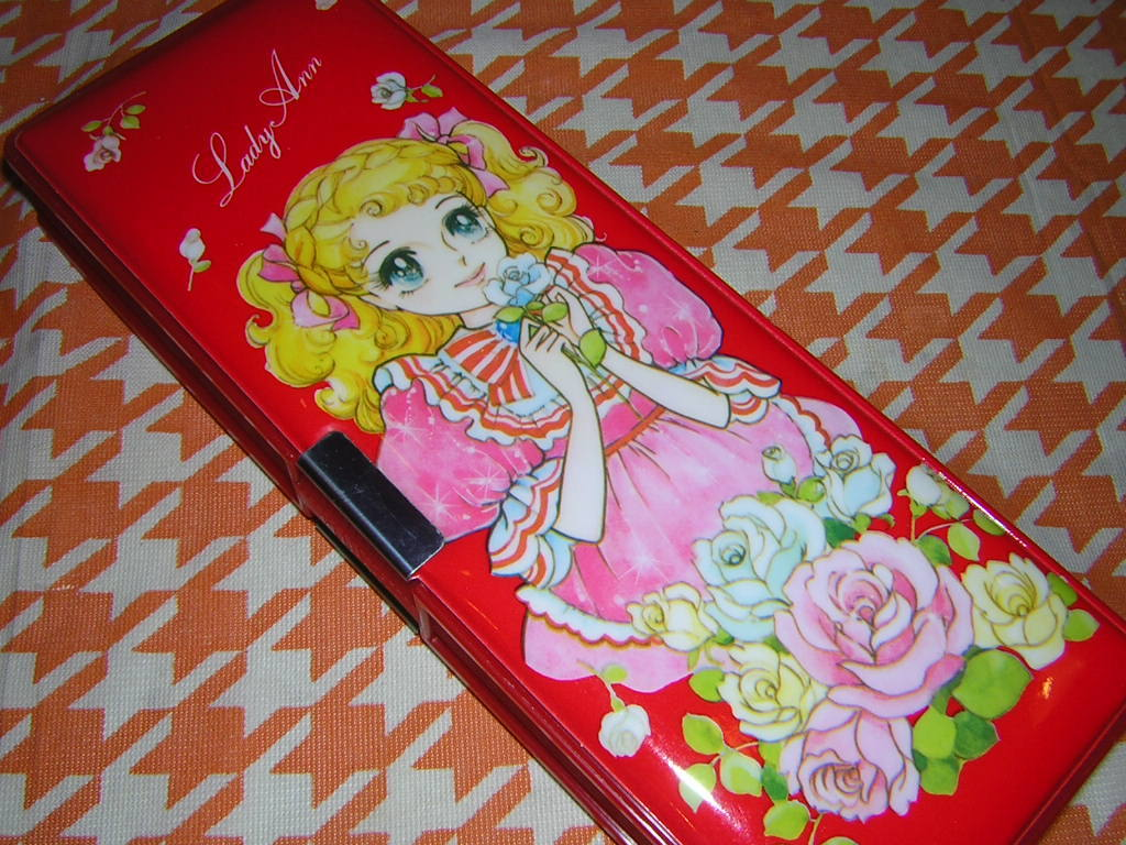 m070/昭和レトロ 可愛い女の子柄 筆箱 Lady Ann 2ドア 少女漫画 キャンディキャンディ風 乙女 _画像8