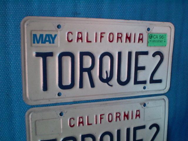 70s California ☆ TORQUE 2'ライセンスプレート Used' カルフォルニア ナンバープレート。ビンテージ。CalLooks VWs Kustom Hodrods_画像2