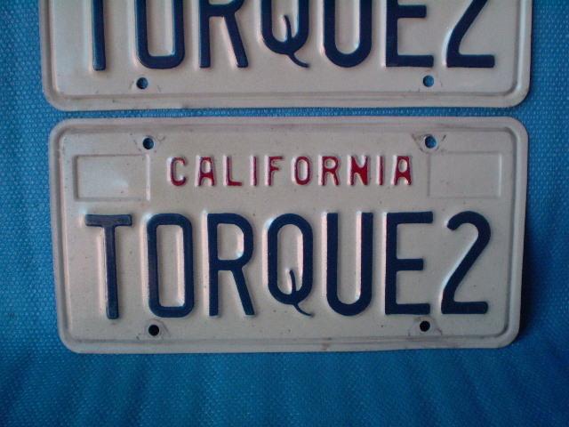 70s California ☆ TORQUE 2'ライセンスプレート Used' カルフォルニア ナンバープレート。ビンテージ。CalLooks VWs Kustom Hodrods_画像3