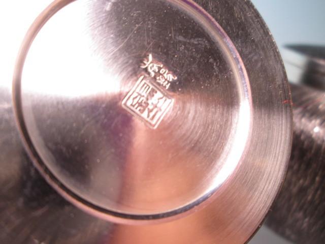 ☆煎茶道具 浪華 錫半造 本錫手造り 『嵯峨野』 煎茶手付き急須・茶壷・茶合・瓶受 未使用品_画像8