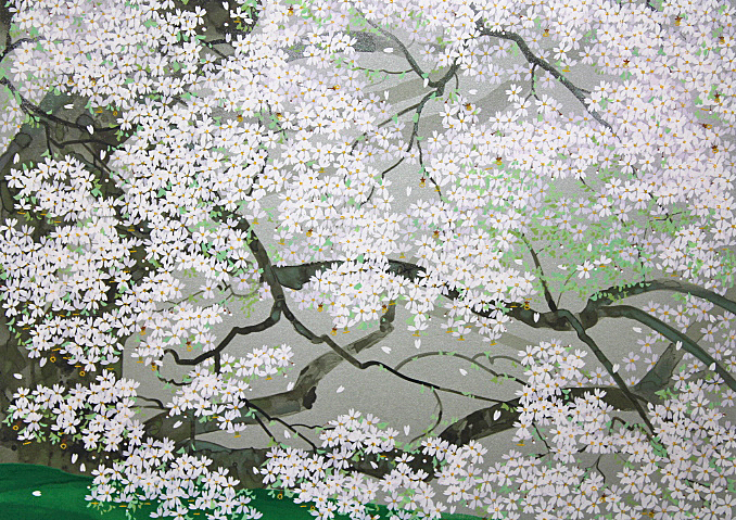 ■中島千波 【一心行の桜】 シルクスクリーン 直筆サイン 印章有り エディション有り