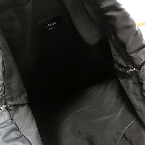 新品同様!フェンディ モンスターナップザック リュックサック 黒 レザー×ナイロン ブラック ロゴ デイパック_画像5