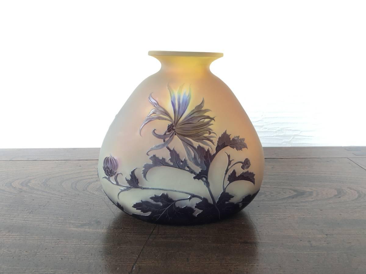 【エミール・ガレ】作 本物保障! H20cm アンティーク ガラス 骨董 花 相続処分品 K2_画像2
