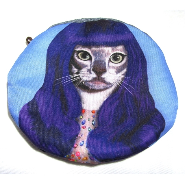 猫 小銭入れ ケイティ・ペリー ラウンド 財布 ブルー ウィッグ コスプレ イヤホン・ケースにも