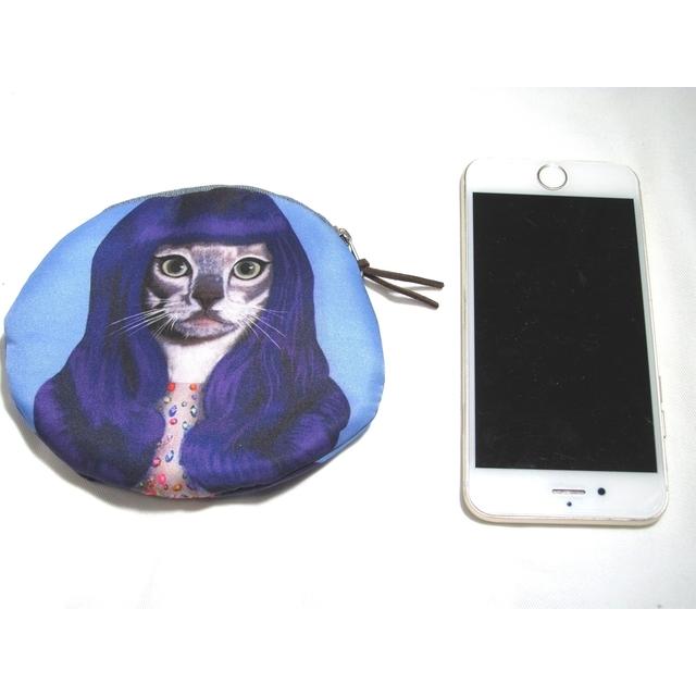 猫 小銭入れ ケイティ・ペリー ラウンド 財布 ブルー ウィッグ コスプレ イヤホン・ケースにも_画像4