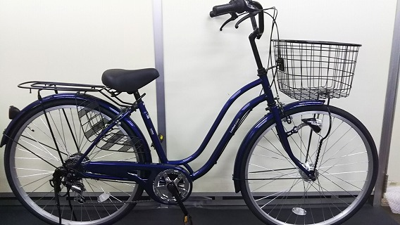 ☆アウトレット 自転車☆26インチ 濃青 シマノ製外装6段変速 LEDオートライト_画像1