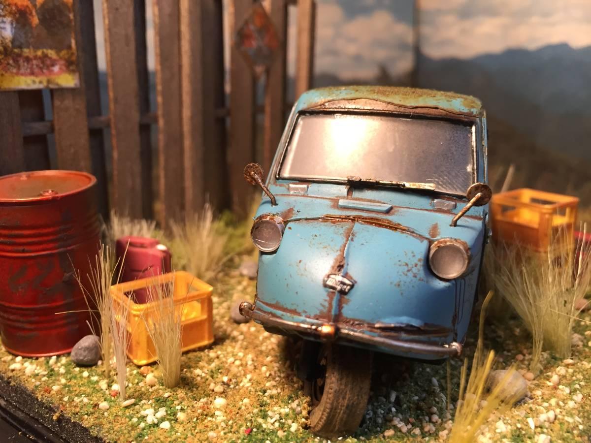 1/32 ダイハツ ミゼット 昭和の風景 旧車 自作ジオラマ完成品 ケース付_画像6