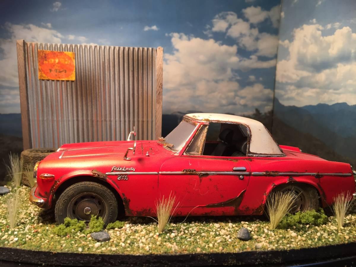 1/24 ダットサン フェアレディ 2000 昭和の風景 旧車 自作ジオラマ完成品 ケース付_画像3
