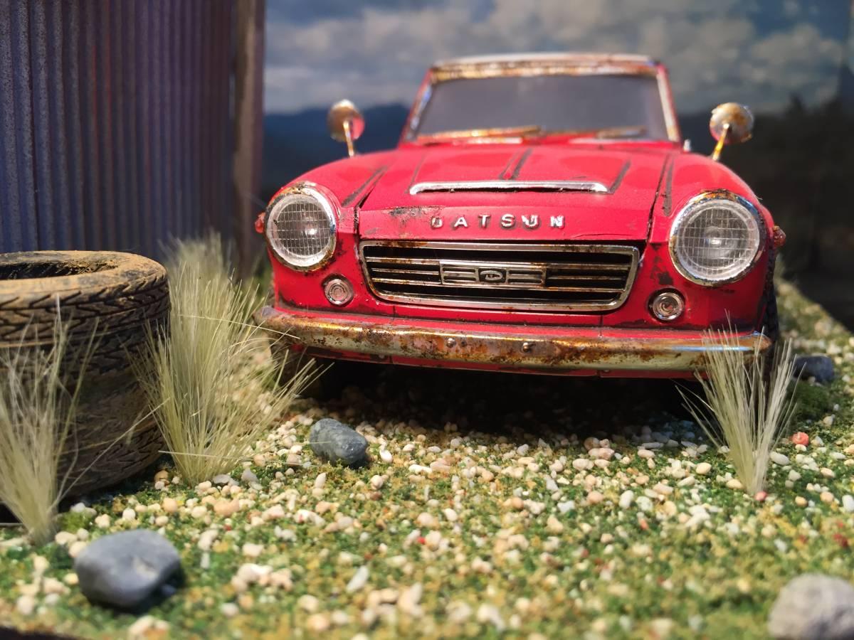 1/24 ダットサン フェアレディ 2000 昭和の風景 旧車 自作ジオラマ完成品 ケース付_画像8