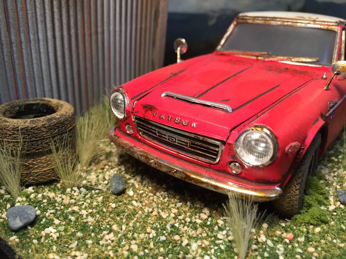 1/24 ダットサン フェアレディ 2000 昭和の風景 旧車 自作ジオラマ完成品 ケース付_画像9