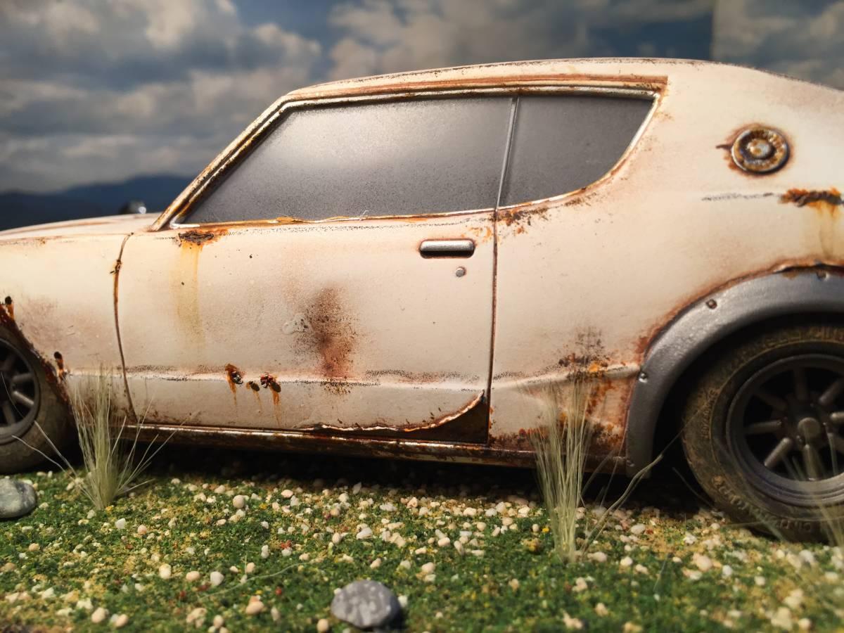 1/24 ニッサン スカイライン 2000GT-R ケンメリ 草ヒロ 昭和の風景 旧車 自作ジオラマ完成品 ケース付_画像5